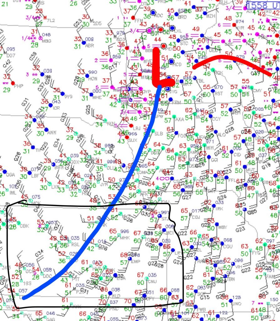 COLD FRONT IS A FEW HOURS SLOWER THAN WE THOUGHT BUT IS MOVING