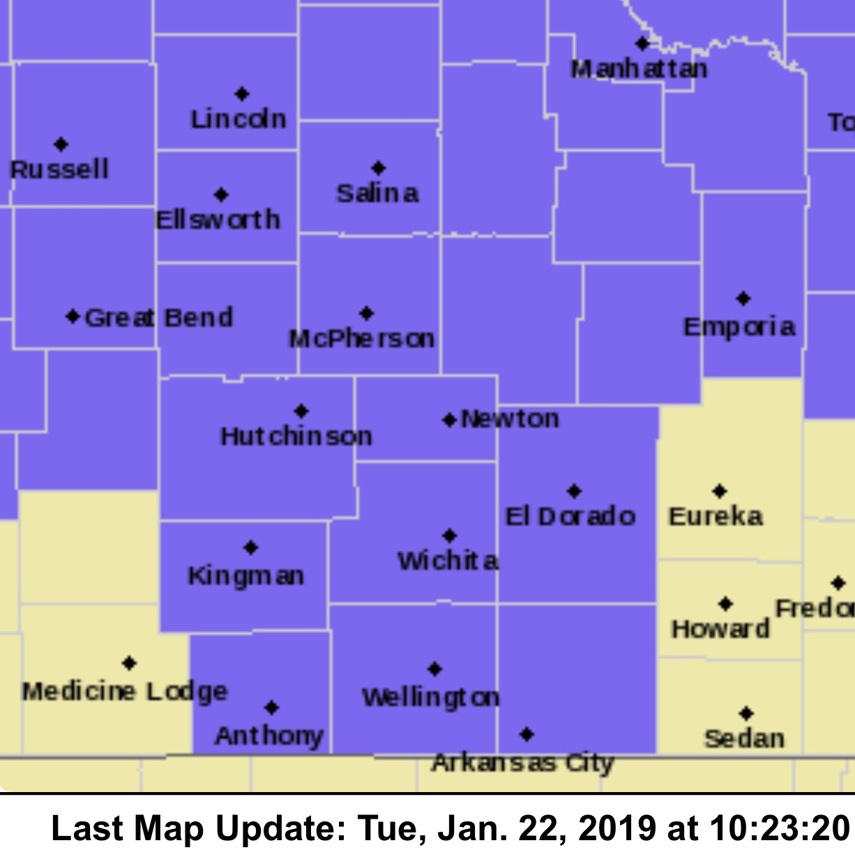 south central kansas map Additional Counties South Central Kansas Added To Advisory For